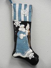 """#075 Blue Santa 25"""" long stocking pattern"""
