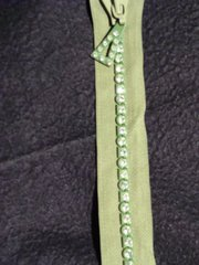 "Kiwi green Crystal 24"" zipper"