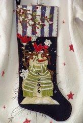 "#196 Snowbirds Welcome 25"" long snowman stocking"