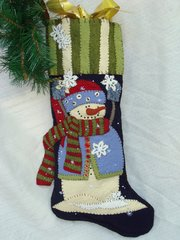 "#173 Catching Snowflakes snowman 25"" long stocking pattern"