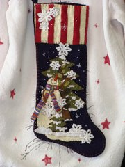 """#195 Let is Snow  25"""" long snowman stocking"""