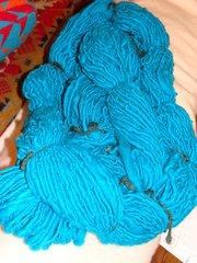 Turquoise handspun corriedale wool yarn 100 yd