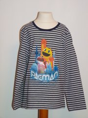 PACMAN Long Sleeved Striped T-Shirt - Blue - Age 8 years