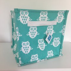 Canvas Storage Cube - Green Owl