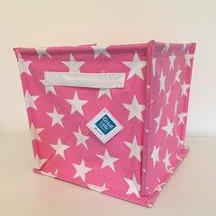 Canvas Storage Cube - Pink Star
