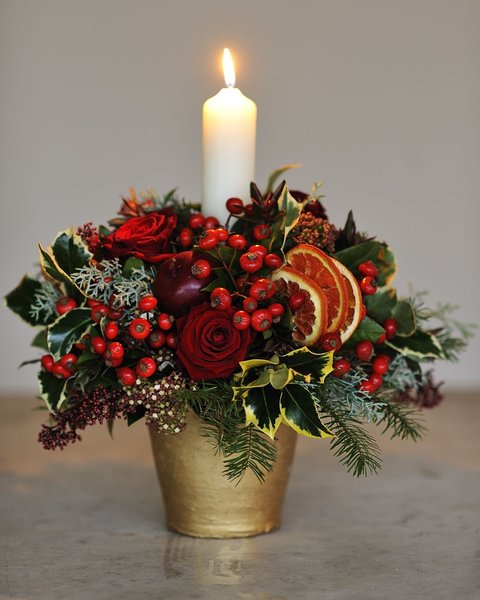Festive Opulence Candle Arrangement Flower Delivery