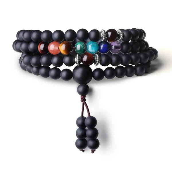 beads chakra precious braceletnecklace gemstone onyx mala buddhist amorwing necklace prayer matte semi products bracelet