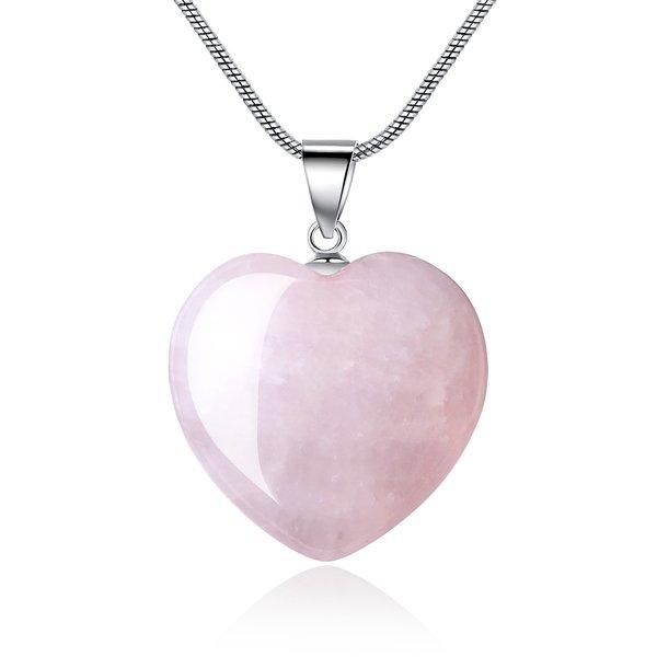 Rose quartz necklacegemstone necklaceheart necklacecharms amorwing pink quartz heart charms pendant neklace for women aloadofball Images