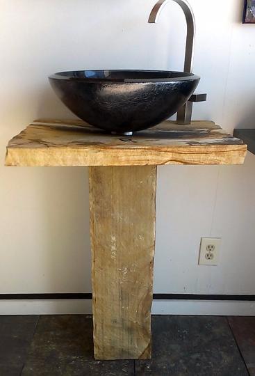 Stone Bathroom Vanity Pedestal Set Marble Sink Countertop Vanity ...