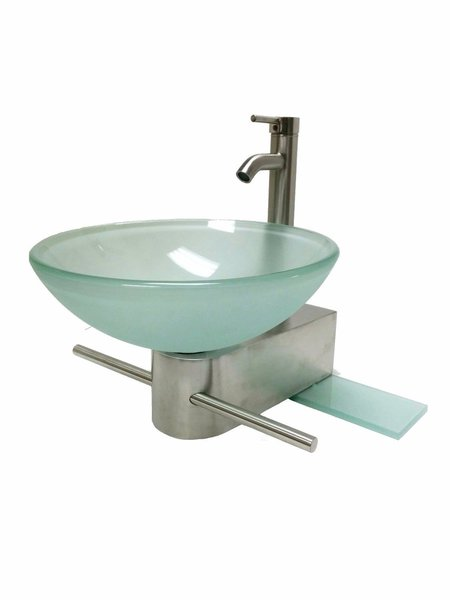 Vessel Sink Wall Mount Support Bracket Vanity with Glass Shelf Chrome or Brushed  Nickel