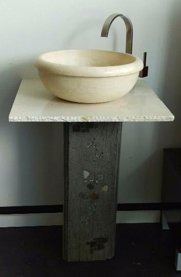 Bathroom Vanities Vessel Sinks Sets marble stone vessel sink & concrete bathroom vanity set | unique
