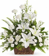 White Lilies of Peace Basket - sym60