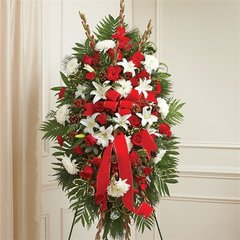 SYMPATHY STANDING SPRAY IN CHRISTMAS COLORS- sym03