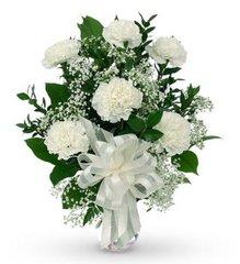 White Carnation Sympathy Bouquet - hom01