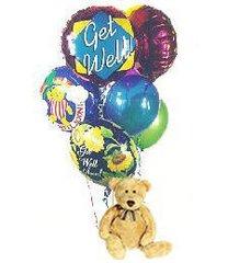 Get Well Soon Teddy Bear & Balloons - plu03