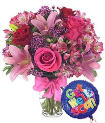 Rose & Lily Celebration with Get Well Balloon - get04