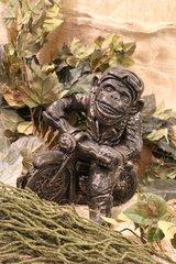 Bronze Style Monkey on Motorcycle Cast Stone