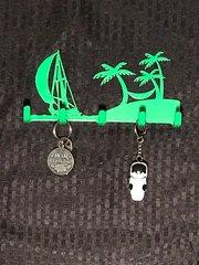 Neon Green Beach Metal Key Holder