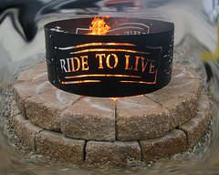"""Metal Motorcycle """"Ride To Live"""" Fire Ring"""