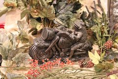 Bronze Style Frog on Motorcycle Cast Stone