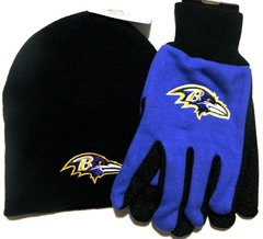NFL Baltimore Ravens Gloves and Beanie Combo
