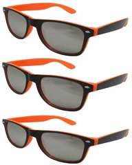 Retro Two-toned Black and Orange - 3 Pair