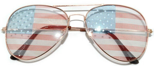 750 USA Flag Aviator Gold Light Lens - 2 Pair
