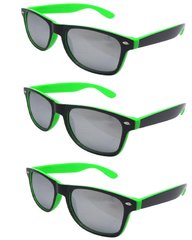Retro Two-toned Black and Green - 3 Pair