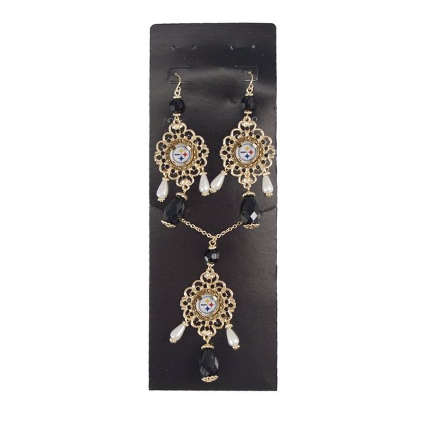 NFL Pittsburgh Steelers Baroque Necklace and Earrings Collection