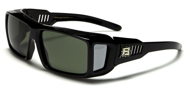 607 Barricade Fit-Over Black Green Lens