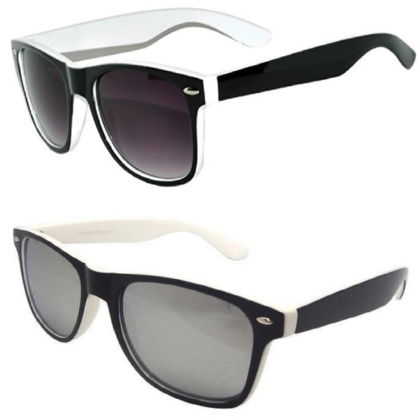2 Pack Retro Two-toned White 1 Smoke &1 Mirror Lens