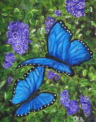 "Blue Morph Butterlies - 8"" X 10"" Acrylic on canvas"