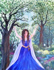 "Maiden of the Forest - 16"" X 20"" Acrylic painting - Original"
