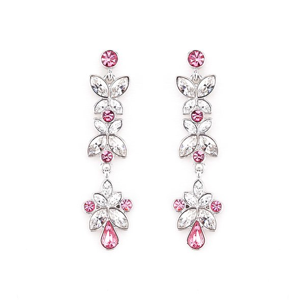 Zena Classic Red Earrings Made With Crystals From Swarovski
