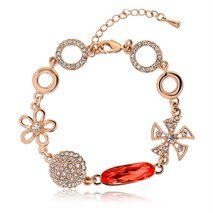 Ouxi Indian Fashion Crystal Link Bracelets Made With Crystals From Swarovski
