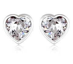 Zena 925 Sterling Silver Heart Shape Stud Earrings Made With Crystals From Swarovski