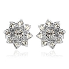 Ouxi Rose Flower Shape Diamond Stud Earrings Made With Crystals From Swarovski