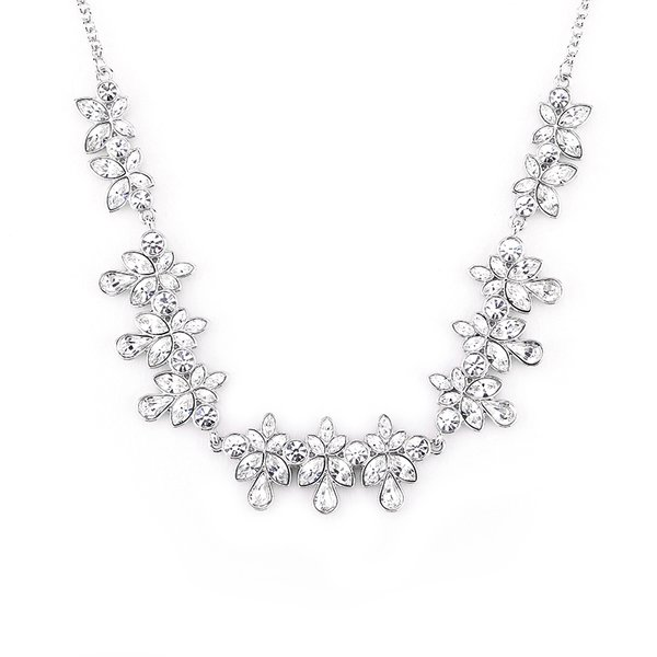 Zena Classic Silver Necklace Made With Crystals From Swarovski