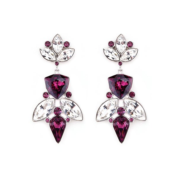 Zena Elegant Purple Earrings Made With Crystals From Swarovski