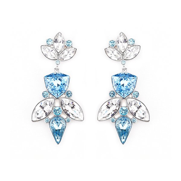 Zena Elegant Blue Earrings Made With Crystals From Swarovski