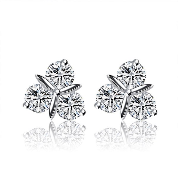 Zena 925 Sterling Silver Leaf Earrings Made With Crystals from Swarovski