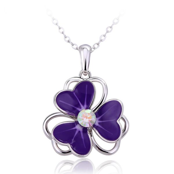 ZENA Purple Flower Necklace Made with Crystals From Swarovski