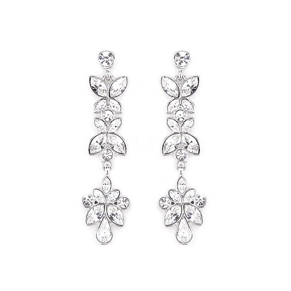 Zena Classic Silver Earrings Made With Crystals From Swarovski