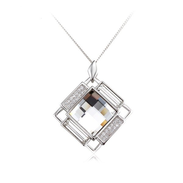 Zena Sterling Silver Diamond Necklace Made With Crystals From Swarovski