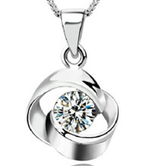 Zena 925 Sterling Silver Round Necklace Made With Crystals from Swarovski