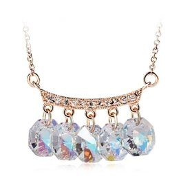 OUXI Fashion Party Gold Plated Bling Windbell Necklace Made With Crystals From Swarovski