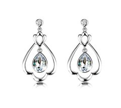 Zena 925 Sterling Silver Dropping Earrings Made With Crystals From Swarovski