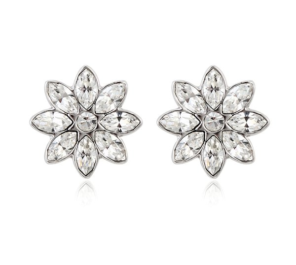 ZENA Flower Stud Earrings Made With Crystals From Swarovski