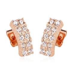 Ouxi 18k Gold Plated Zircon Stud Earrings