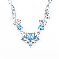 Zena Elegant Blue Necklace Made With Crystals From Swarovski
